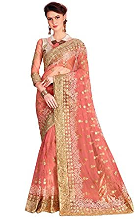 Panash Trends Women's Net Saree (UJJ.K680_Pink Color)
