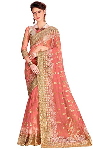 Panashtrends Women's Net Saree With Blouse Piece (Ujj.K680, Pink, Free Size)