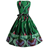 Culater Vestido Vestido Sin Mangas con Estampado De Cuello Redondo Y Estampado De Cuello Redondo De La Década De 1950. Vestido De Mujer. Verde 2XL