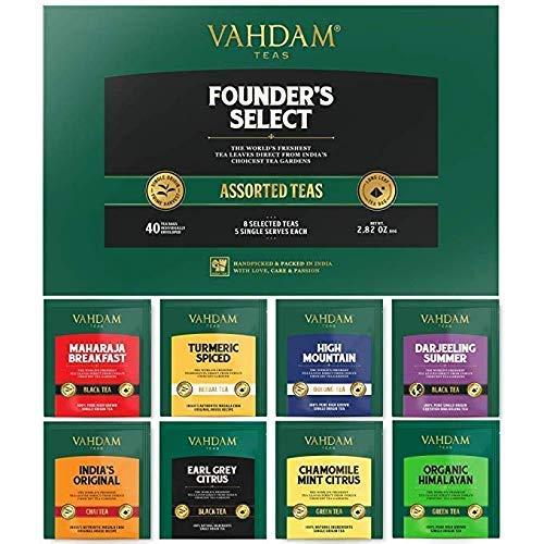 VAHDAM, Muestreador de bolsas de té surtidas (40 bolsas de té) - Té negro, té verde, té Oolong, té Chai, té de hierbas - Bolsitas de té Pyramid - Juego de regalo de té de la mejor calidad de la India
