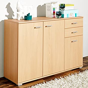 Sideboard Beech Cabinet Wooden Chest Of Drawers Book Shelf Large Commode  Cupboard 76 X 106.5