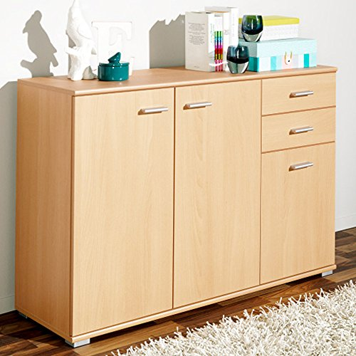 Sideboard mit 3 Türen 2 Schubladen Buche Highboard Kommode Standschrank Mehrzweckschrank Anrichte