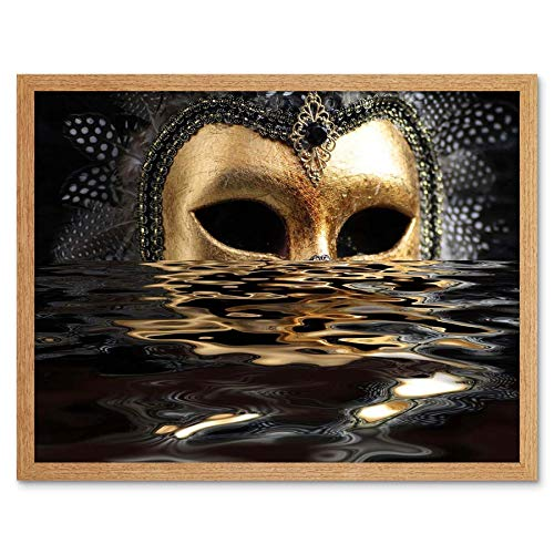 Wee Blue Coo LTD Venetian Mask Water Black Gold Art Print Framed Poster Wall Decor Kunstdruck Poster Wand-Dekor-12X16 Zoll