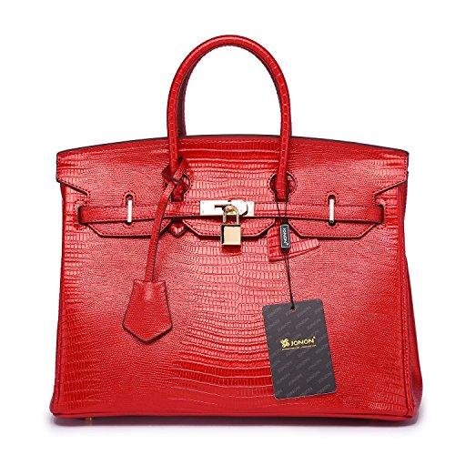 Jonon da donna brevetto pelle goffrata Lucertola Lucchetto Maniglia Superiore Borsa Donna Borsa, nero (Red), 35 cm