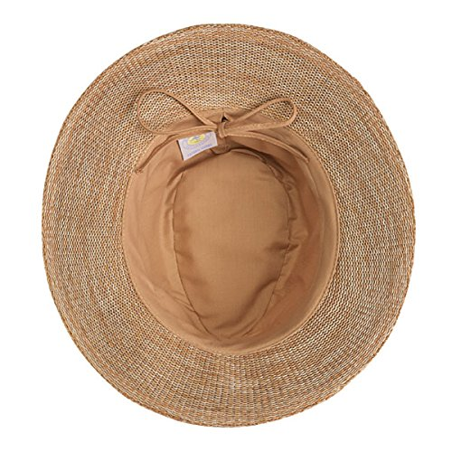 Wallaroo Femmes UV Victoria Chapeau Borsalino - UPF50+ Protection Soleil (Réglable & Compressible) Mélange Camel