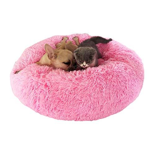 Kostüm Beruhigt - Coomir Hundestier, beruhigt das Bett, rund, warm, weich und weich, gemütlich, für den Winter, 50 cm, Pink