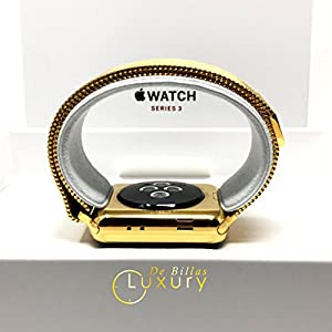 24K Gold 42MM Apple Watch SERIES 3 with Gold Milanese Loop Band GPS+LTE