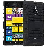 Fosmon® Nokia Lumia 1520 / Nokia Bandit (HYBO-RAGGED) Hybrid Dual Layer Heavy Duty Tough Case Cover With Stand Function - Fosmon Retail Packaging (Black)