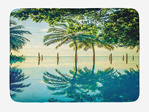 Landscape Bath Mat, Pool with Trees on The Surface No Filter Region Hot Spot Climate on Earth Theme, Plush Bathroom Decor Mat with Non Slip Backing, 23.6 W X 15.7 W Inches, Green Blue