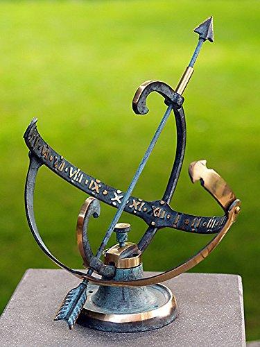 pompidu-living Sonnenuhr, hochwertiger Outdoor-Zeitmesser für den Garten, wetterfeste Bronze-Uhr, 25x25x30cm