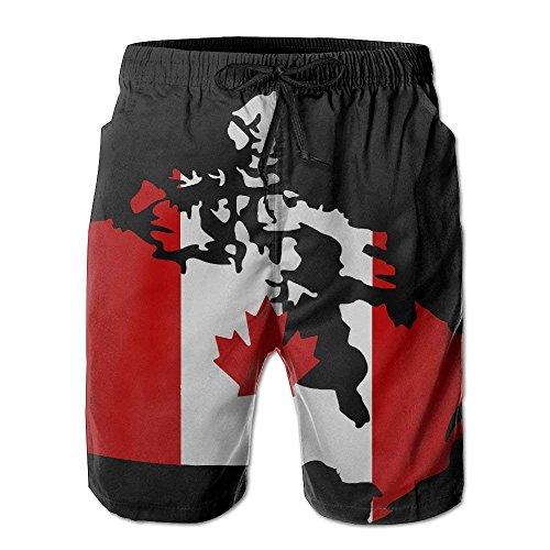 sheho Kanadische Karte mit Kanada-Flagge Benutzerdefinierte Herren Sommer Strand Shorts Badehose Board Shorts mit Taschen Quick Dry Badehose, Größe L