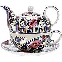 Charles Rennie Mackintosh - Juego de taza de porcelana fina con platillo y tetera