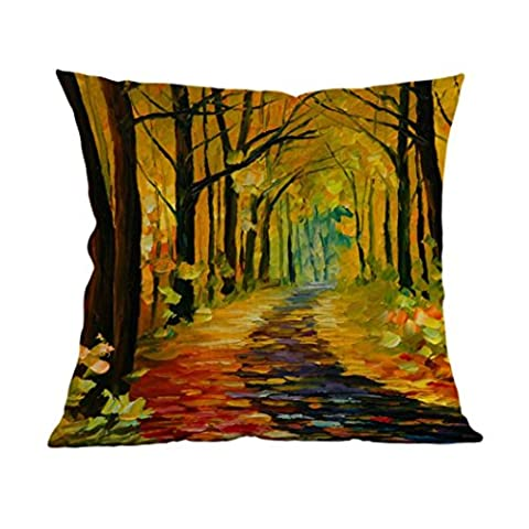 Automne doré Style de Peinture Housse de Coussin, Pillow Case Lit De La Maison Canapé DéCoratif LinTaie d'Oreiller par Reaso (45x45cm/18x18