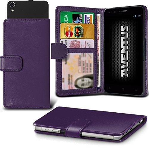 Aventus (Dark Purple) Aldi Medion Life P5004 Premium-PU-Leder Universal Hülle Spring Clamp-Mappen-Kasten mit Kamera Slide, Karten-Slot-Halter und Banknoten Taschen