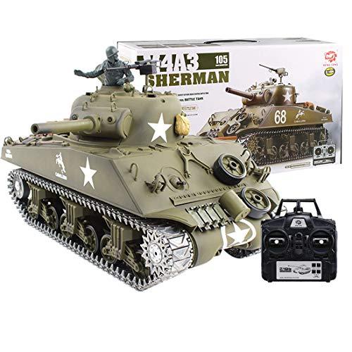 Haunen 1/16 2.4GHz RC Ferngesteuerter Panzer Metall mit Schussfunktion, Rauch und Sound - American M4A3 Sherman Tank(Verbesserte Edition)