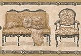 Retro Art Beige Retro Couch Sessel Loveseat Creme Wallpaper Border Retro-Design, Roll-15' x 7''