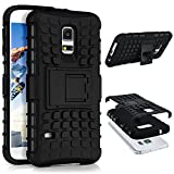 ONEFLOW Samsung Galaxy S5 Mini | Hülle Silikon Hard-Case Schwarz Outdoor Back-Cover Extrem Stoßfest Schutzhülle Grip Handyhülle für Samsung Galaxy S5 Mini Case Rückseite Tasche