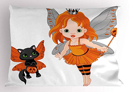 Ejjheadband Halloween Pillow Sham, Halloween Baby Fairy and Her Cat in Costumes Trick Butterflies Girls Kids Design, Decorative Standard Queen Size Printed Pillowcase, 30 X 20 inches, Multicolor
