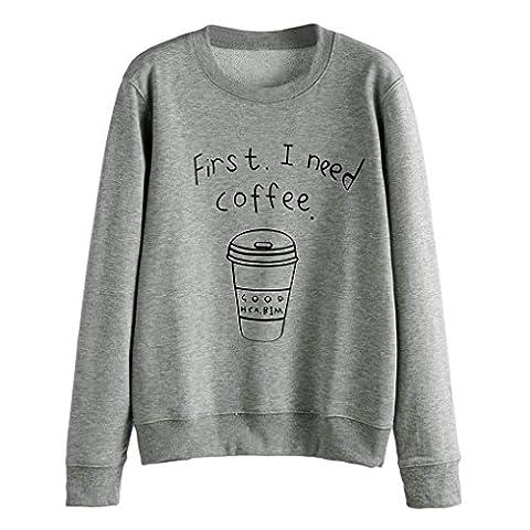 Tonsee Femmes Blouse à manches longues Lettre overs Print Sweatshirt (L, Gris)