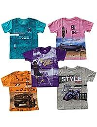 YelloWear Boys Printed T-Shirts(Multicolor1)