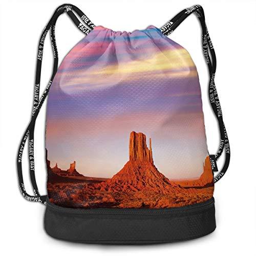 LULABE Printed Drawstring Backpacks Bags,Monument Valley West Mitten and Merrick Butte Sunset Utah Desert,Adjustable String Closure