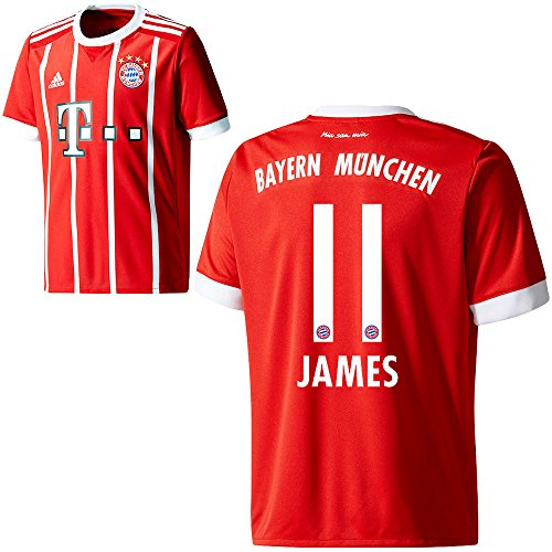Adidas FC Bayern München FCB Home Trikot 2017 2018 Herren Kinder mit Spieler Name rot Farbe James, Größe M