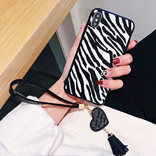GUYISJK Handy Shell Leopard All-Inclusive-Anti-Herbst Glas Persönlichkeit Kreative Farblich Passende Trageschlaufe Damen Handy Fall X Schwarze Und Weiße Streifen (Iphone 5 Passenden Fälle Für Mädchen)