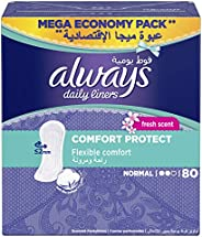 Always Daily Liners Comfort Protect With Fresh Scent, Normal, 80 Count