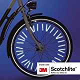 Salzmann Spoke Reflector Clips 36 Pack Made with 3M Scotchlite Reflective Material - For All Standard Spoked Wheels - Bike Wheelchair Cycle Bicycle