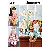 Simplicity Muster 840258,4cm gefüllt Puppe mit Kleidung, Papier, weiß, 22x 15x 1cm