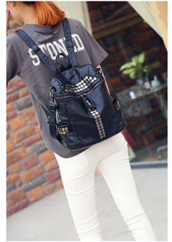 Honeymall Damen Mode aus Weichem Leder Rucksack Schulterbeutel Niet Vintage Satchel Daypack(Schwarz) - 6