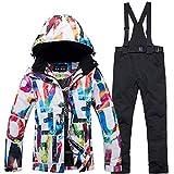 2018 neue Mode Ski Jacke wasserdicht Skianzug Schneeanzug Winter Skifahren Unisex Skiset Farbe und G SunFlower6666 (Black, Medium)