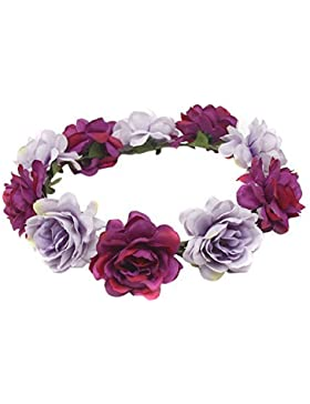 TININNA Diadema guirnalda de flor,Elegante Floral corona guirnalda para fiesta de boda Featival-Azul violeta