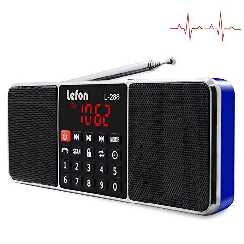 LEFON FM AM Digital Radio Dual Bluetooth Lautsprecher MP3 Musik Player Unterstützungs-TF-Karte USB-Scheibe 3.5mm AUX Linie-in LED-Schirm-Anzeige (Blau) (Am / Fm Radio Batteriebetrieben)