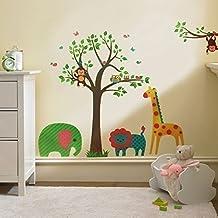 walplus wand sticker aufkleber kunst dekoration tiere baum bunt kinderzimmer deko - Deko Baum Wand