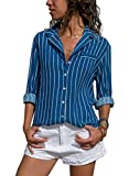Dokotoo Damen Bluse Elegant Chiffon V-Ausschnitt Langarm Casual Oberteil Lose Langarmshirt Vintage Tunika Hemd T-Shirt S-XXL (Medium (EU40-EU42), Blau)