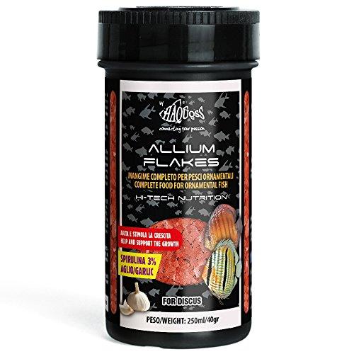Haquoss Allium Flakes Mangime in Scaglie a Base di Aglio per Discus, 250 ml/40 gr