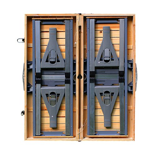 camping sitzgarnitur aus alu tischplatte aus echtholz kofferfunktion 4 sitzpl tze klappbar. Black Bedroom Furniture Sets. Home Design Ideas