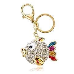 Idea Regalo - Portachiavi grande formato placcato in oro Strass di cristallo lucido con il fascino di pesce