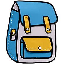 Flyfish 3D Jump Style Dibujo 2D de Cartoon Paper Comic Backpack School Shoulder Bag
