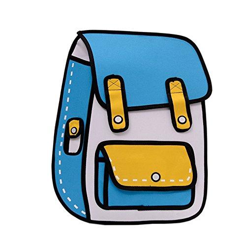 Flyfish 3D Jump Stil 2D Zeichnung aus Cartoon Papier Comic Rucksack Schule Umhängetasche (A) - Täglich Zeitschrift Zeichnung