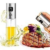 HZQ Ölsprüher Dispenser Premium 304 Edelstahl Grillen Olivenöl Glasflasche 100ml zum Kochen/Salat/Brotbacken/BBQ/Küche (1-PACK)