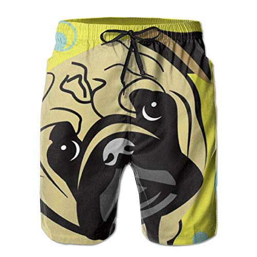 Cute Cartoon Pug Balloon Men's/Boys Casual Swim Trunks Short Elastic Waist Beach Pants with Pockets (L) - Mlb Kids Shorts