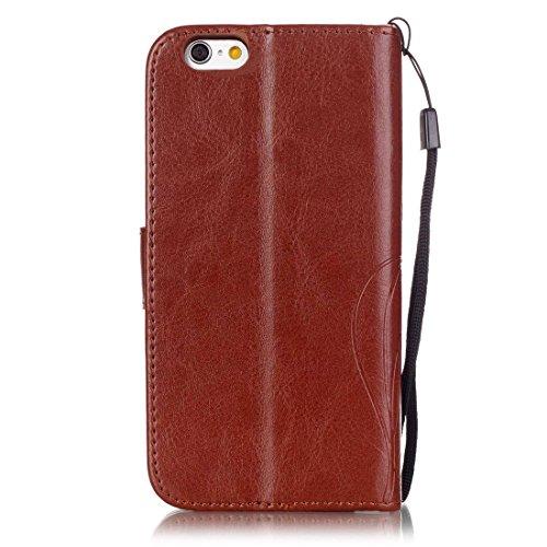 Yaking® Apple iPhone 6/ 6S Coque, PU Portefeuille Étui Coque Stand Flip Housse Couvrir impression Case Cover pour Apple iPhone 6/ 6S Brun