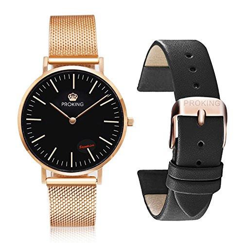 Damen Uhren,PROKING Wasserdichte Rose Gold Edelstahl Uhren, Paar Uhren Saphirglas Ultra dünne Armbanduhr, Business Uhren mit kostenlosem extra Lederband