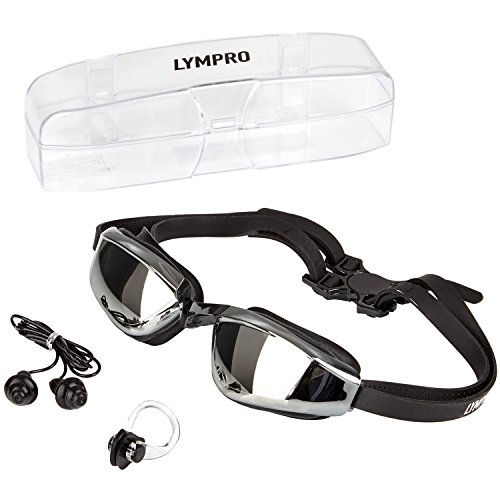 LYMPRO Sport Schwimmbrille DELUXE mit Antibeschlag-Schutz und 100% UV-Schutz, inklusive Nasenklammer, Ohrstöpsel und 2 Jahren Geld-zurück-Garantie
