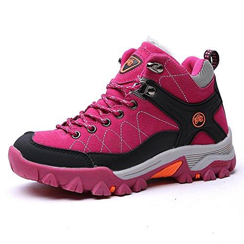 Chaussure randonné Outdoors haut chaude suédé homme femme adulte mixte sneakers hiver Rouge