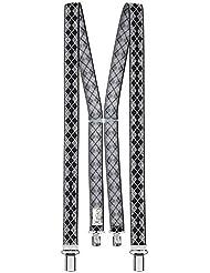 Xeira - Bretelles de haute qualité pour Femmes / Homme avec 4 fort clips dans 30 Couleurs - Fabriqué en Allemagne / Noir / Beige / Marron / Vert / Jaune / Bordeaux / Bleu / Orange / Retro / Neon Pink