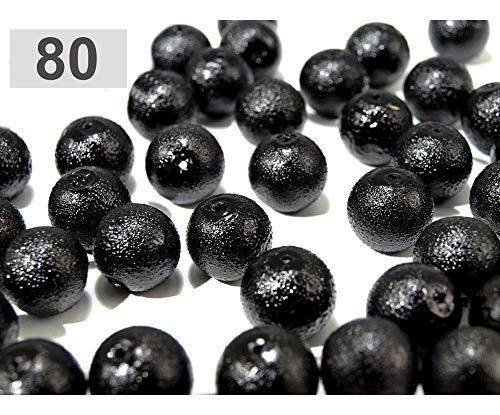 10stück 80 Schwarz Wachsperlen Aus Glas Krepp-perlen Ø12mm, Glasperlen -