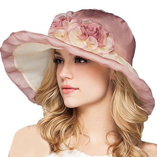 Maitose® Large Brim Mulberry Silk Sun Protection Hat Women Rose